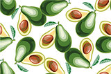 Vector seamless background with avocado fruit slices on a white background.