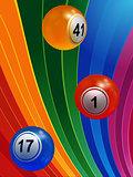 3D Bingo balls over multicoloured background