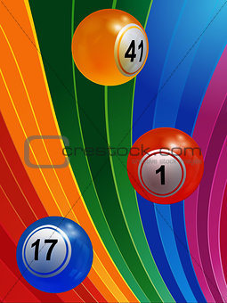 3D Bingo balls over multicoloured background