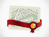 Bingo gift card and ribbon with crest and ball