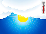 Sun clouds and thermometer background