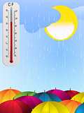 Sun rain umbrella and thermometer background