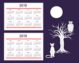 Creative calendar with drawn night animals for wall year 2018, 2