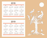 Creative calendar with drawn tropical birds for wall year 2018,