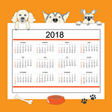 Creative calendar with drawn cartoon dogs for wall year 2018