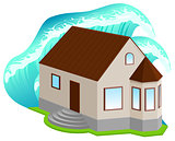 House insurance against floods. High wave covered home