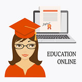 education online with girl, laptop and diploma