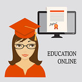 education online with girl in red and diploma into computer scre