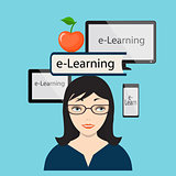 E-Learning with girl and computer screen