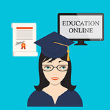 education online with girl, computer screen and diploma