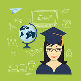 girl in the academic cap, globe and hand drawn icons