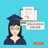 start education online with girl, laptop and diploma