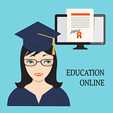 education online with girl  and diploma into  computer screen