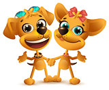 Boy dog and girl dog friends. Friendship Day
