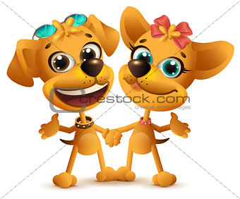 Boy dog and girl dog friends. Friendship Day