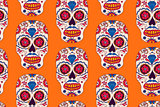 Vector hand drawn Mexican Day of The Dead seamless pattern.