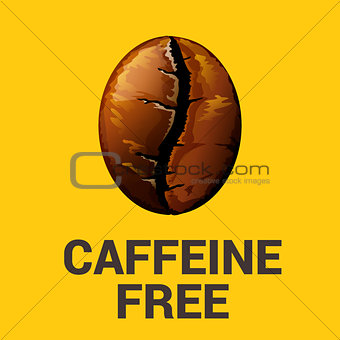 Caffeine free icon on yellow background, vector illustration.