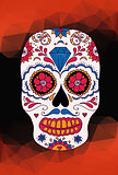 Vector skull color illustration, t-shirt graphics. Mexican skull.
