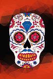Vector skull color illustration, t-shirt graphics. Mexican skull.
