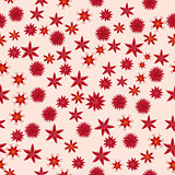 Abstract seamless background with abstract red flowers
