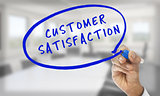Hand writing customer satisfaction with blue pencil