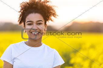 Beautiful Mixed Race African American Girl Teenager Perfect Teet