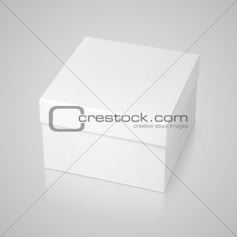 Closed square box on gray