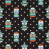 African totem mask seamless polka dot dark pattern vector.