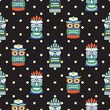 African totem mask seamless polka dot dark pattern vector.