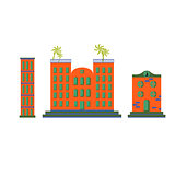 Hotel buildings vector cartoon flat set.