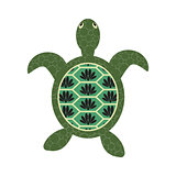 Turtle cartoon vector with decorated tortoiseshell.