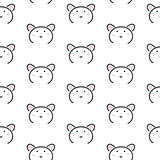 Bear stylized line fun seamless pattern for kids and babies.