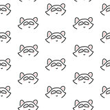 Raccoon stylized line fun seamless pattern for kids and babies.