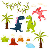 Dinosaur and jungle tree clipart set.