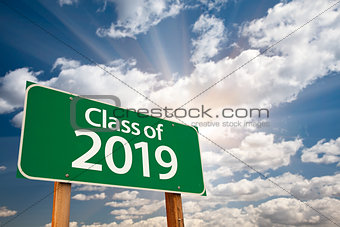 Class of 2019 Green Road Sign with Dramatic Clouds and Sky