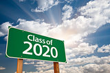 Class of 2020 Green Road Sign with Dramatic Clouds and Sky