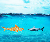 Big shark made of goldfishes. Concept of unity is strenght,teamwork and partnership