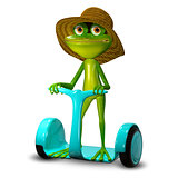 3d Illustration Frog in a Hat on Segway