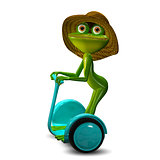 3d Illustration of the Frog in the Straw Hat in Segway
