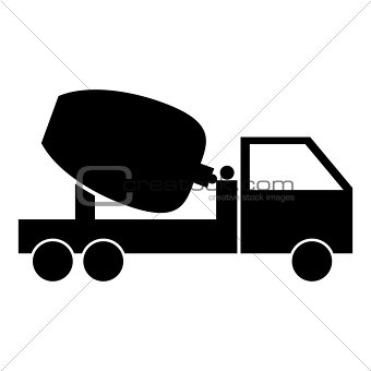 Cement mixers truck the black color icon .