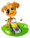 Yellow fun dog mowing lawn