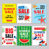 Summer sale emails and banners mobile templates. Vector illustra