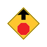 STOP AHEAD Road Sign Warning