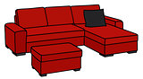 Dark red big couch