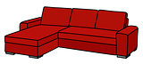 Red big couch