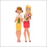 Two beautiful blond women, girls standing, holding bunches of flowers