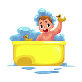 Cute little baby kid, infant, child taking foam bath