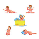Baby kid, infant daily routine - eat, sleep, bath, cry, crawl