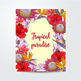 Postcard, greeting card, banner design with exotic, tropical flowers