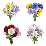 Bouquets, bunches of hand drawn wild and garden flowers